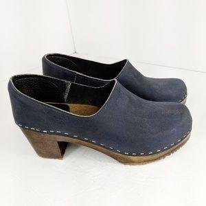 Sandgrens Bridget Clogs Blue Leather Wood Sole 37